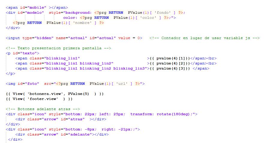 Fragmento de aplicación web escrita con Mod Harbour + Mercury MVC