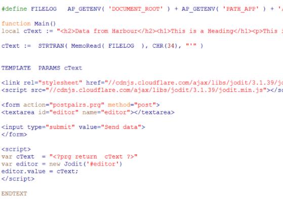 Fragmento de aplicación web escrita con Mod Harbour